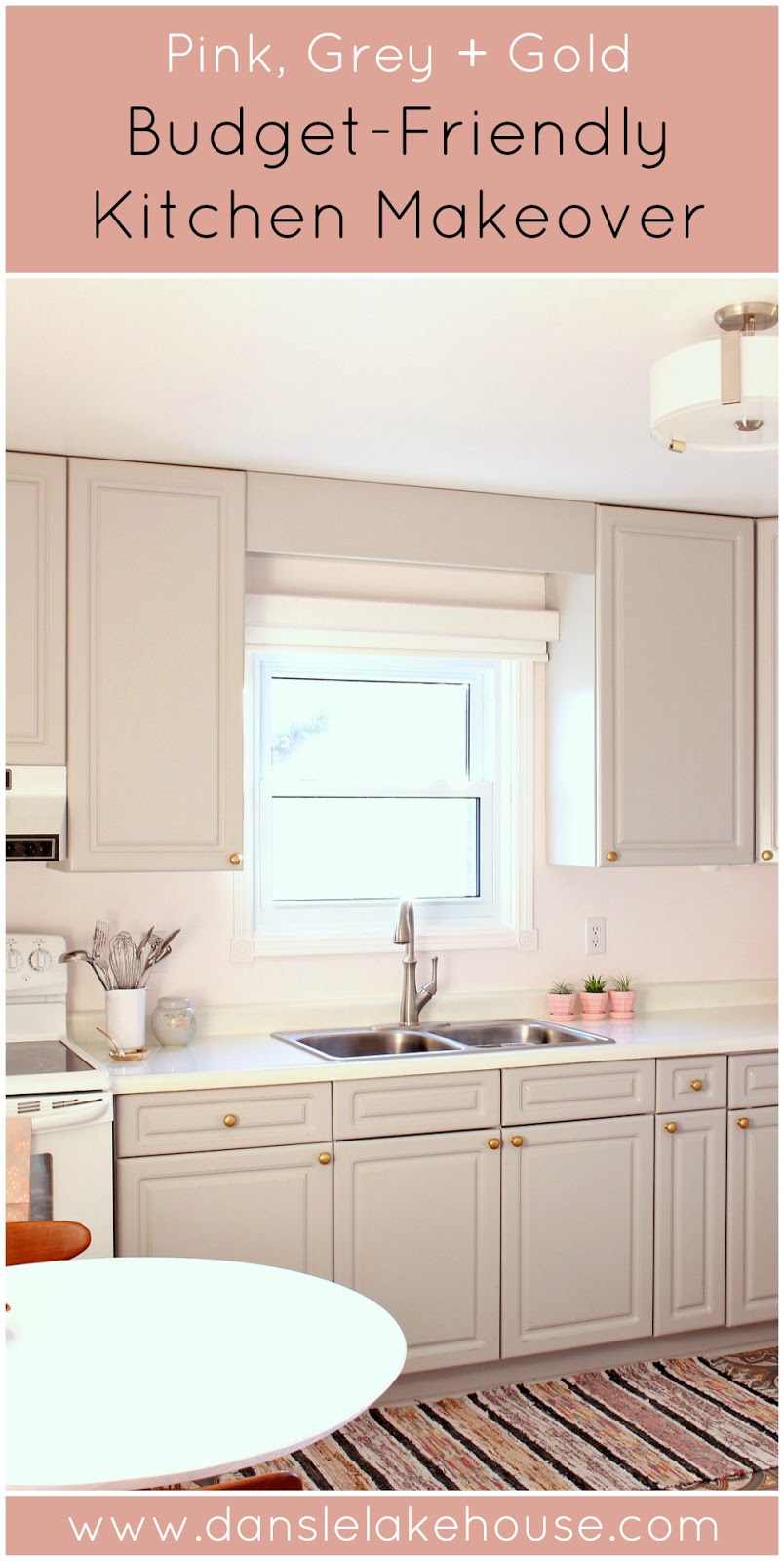 Budget-Friendly Grey, Pink, Gold Kitchen Makeover with Vintage Vibe