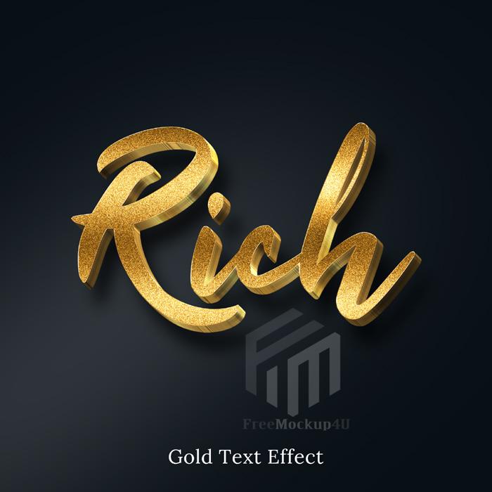 Rich Golden Glitter 3D Text Style Effect