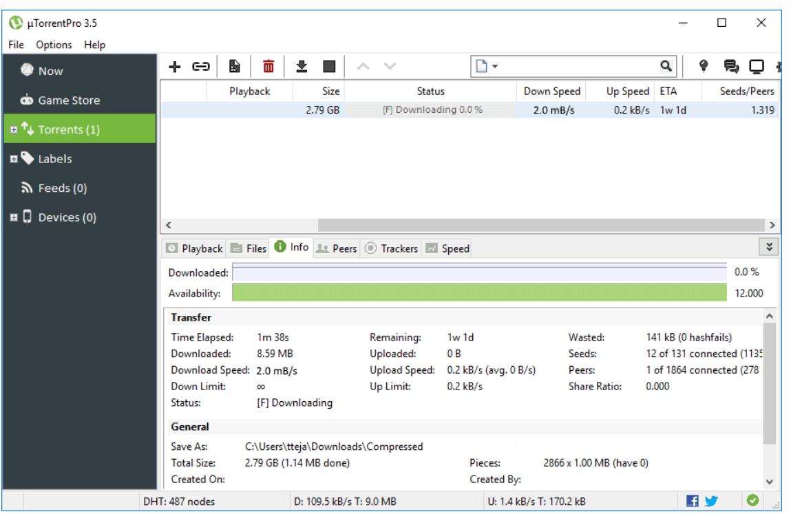 Giao diện của UTorrent Pro 3.5.5