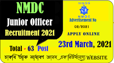 NMDC Junior Officer Trainee Recruitment 2021