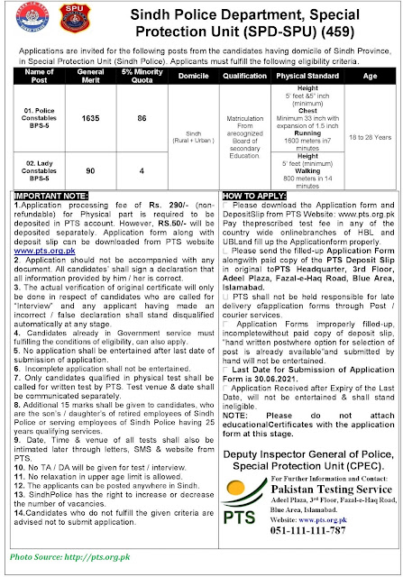 Sindh Police Special Protection Unit Jobs June 2021 - Apply Online for Latest SSU Jobs 2021