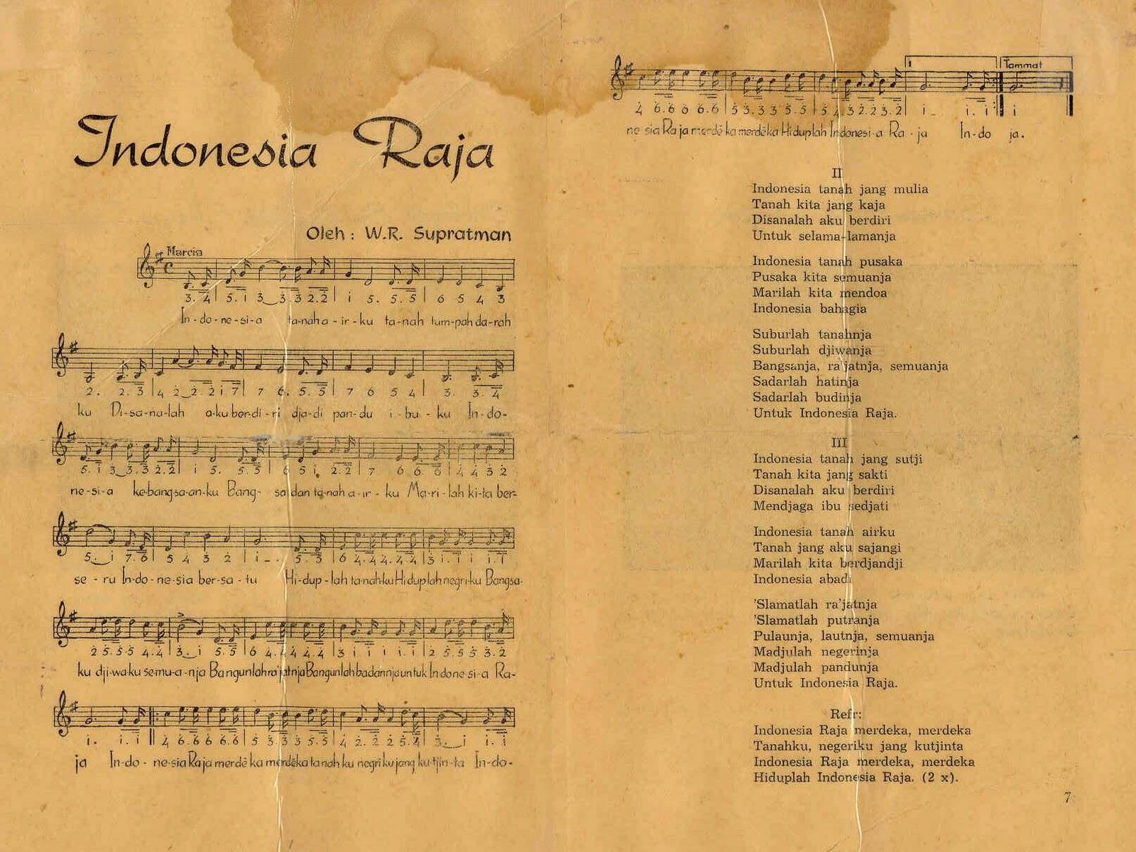 Lirik Indonesia Raya 3 Stanza Lirik Asli Ejaan 1958 Dan Eyd Ejaan Yang Disempurnakan Lirikaz 09