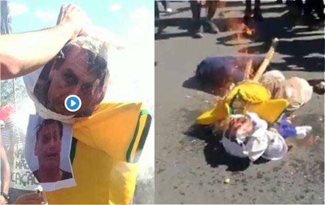 Manifestantes queimam boneco de Bolsonaro em suposto protesto pela Educação