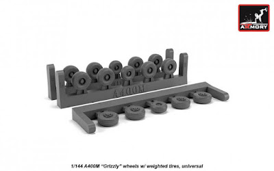 """AR AW14503 - 1/144 A400M """"Grizzly"""" wheels w/ weighted tires"""