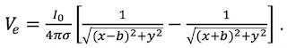 A mathematical expression for the voltage in the saline surrounding a nerve axon.