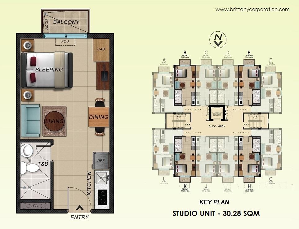 Floor Plan of Alpine Villas at Crosswinds - Studio Unit 30.28 Sqm   Studio Unit 30.28 SQM Condominium Unit for Sale Tagaytay