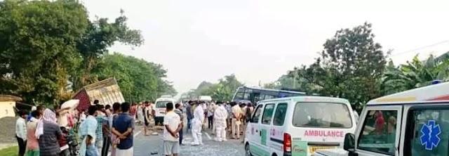 समस्तीपुर जिले के उजियारपुर मैं एनएच 28 पर भीषण सड़क हादसा,दो की मौत