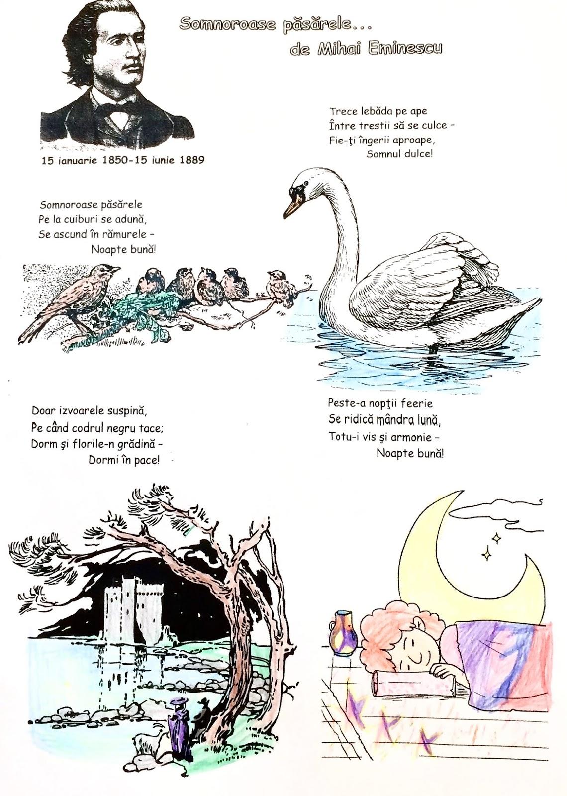 """""""Somnoroase păsărele"""", de Mihai Eminescu- fișă de lucru"""