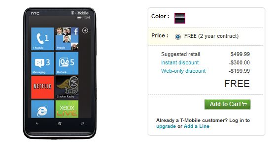 T-Mobile HTC HD7 Free with Contract