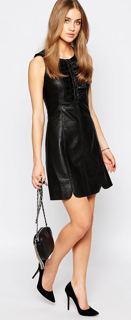 Robe courte noire similicuir Warehouse