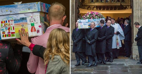 Primary school headteacher buried in coffin covered by her pupils' drawings