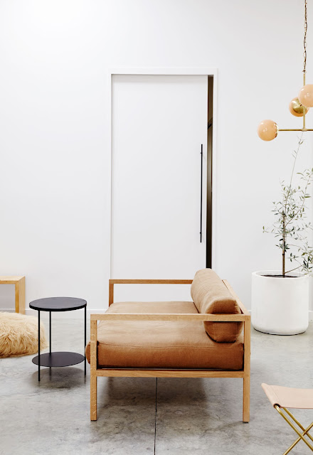 neutral living room with low modern light wood simple frame sofa with cognac brown leather cushions, white planter with olive tree