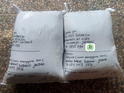 Benih padi yang dibeli   EUIS SUTARSIH Sukoharjo, Jateng  (Setelah packing karung ).