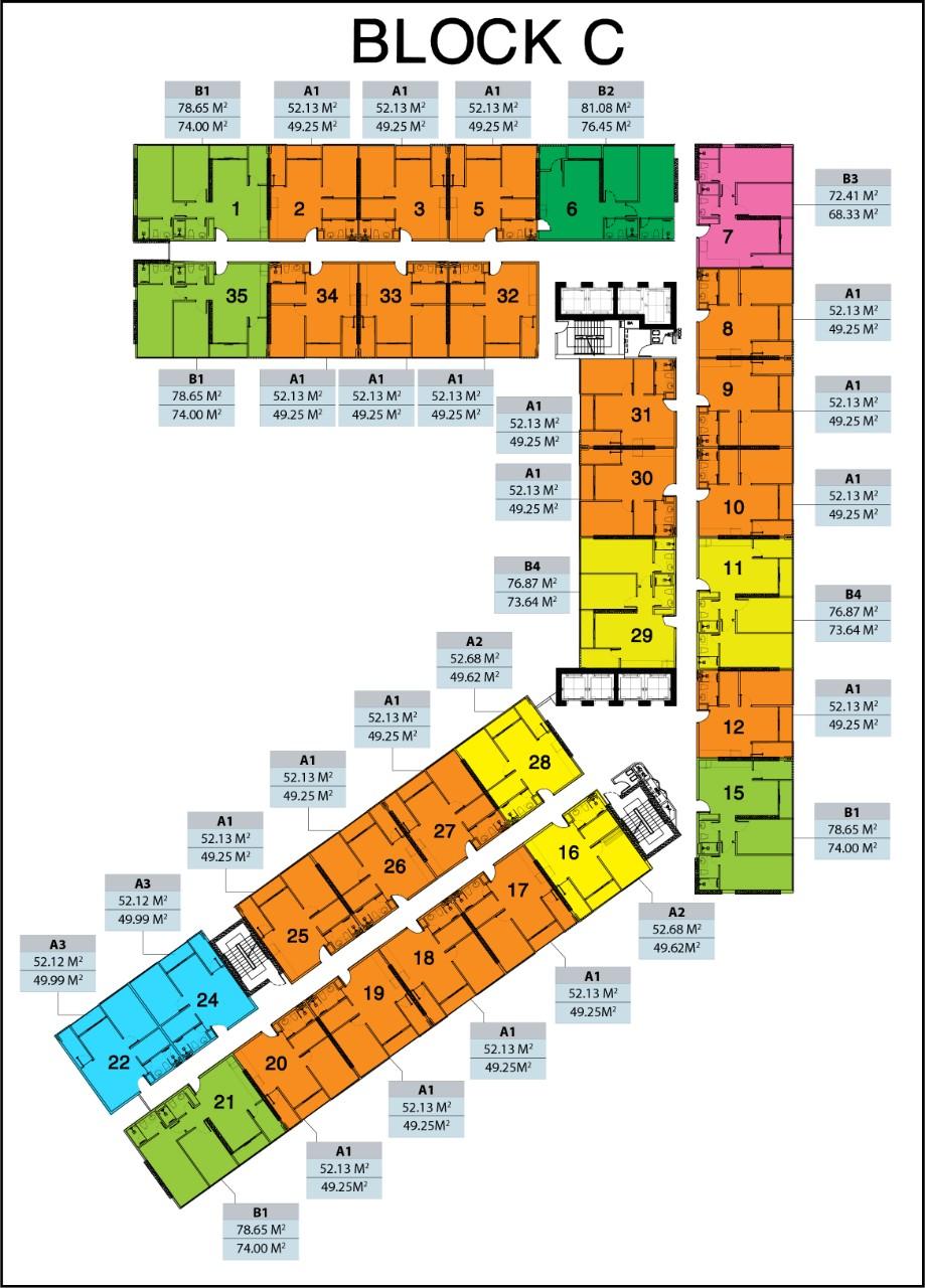 Mặt bằng Block C - khu phức hợp Căn hộ City Gate 3 - Chủ đầu tư NBB
