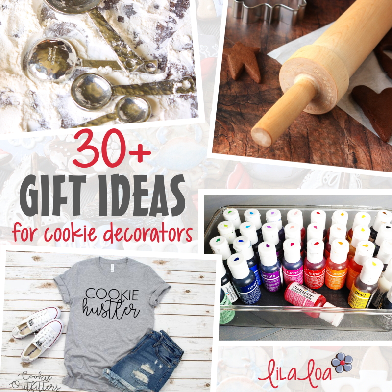cookie clothing, food color, and cookie decorating supplies