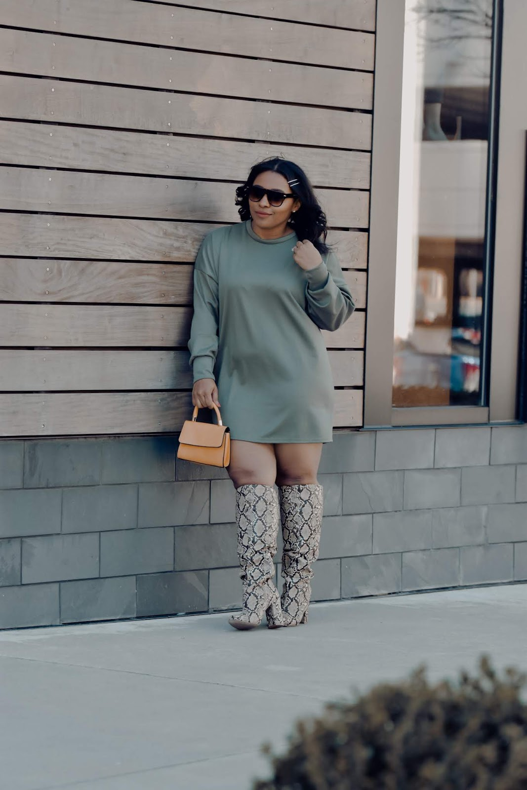 Femme luxe, luxe gal, pattys kloset, spring outfit ideas, otk boots, over the knee boots outfits, spring over the knee boots, snake print boots