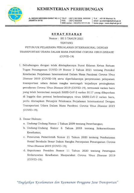 surat edaran menhub ri nomor 5 tahun 2021 pdf