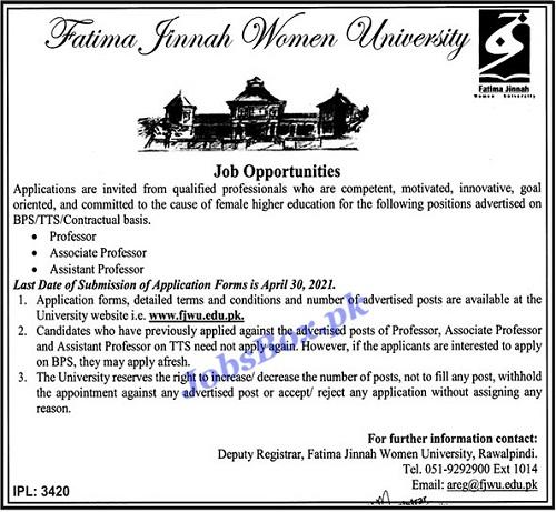 fatima-jinnah-women-university-rawalpindi-fjwu-jobs-2021-advertisement