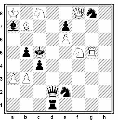 Problema de mate en 2 compuesto por Evgeny Bogdanov (3º Premio, Szachy 1971)