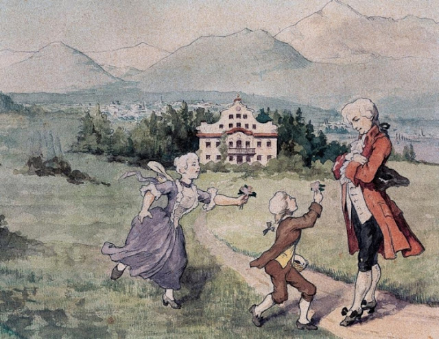 Mozart com sua irmã Anna e pai