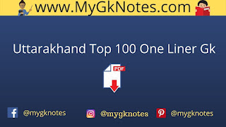 Uttarakhand Top 100 One Liner Gk Questions PDF in Hindi