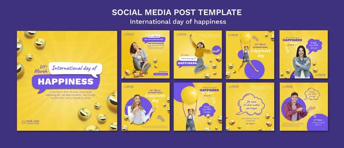 International Day Of Happiness PSD Banner