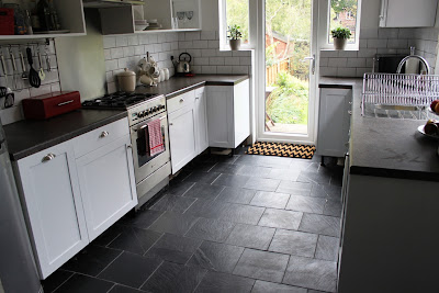 The finished result after laying our slate tiles in the kitchen.