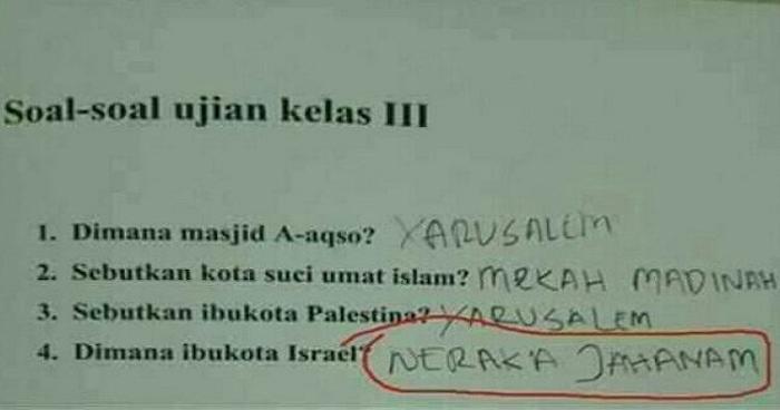 Viral! Ditanya Soal Ibukota Israel, Jawaban Siswa SD Ini Mengejutkan