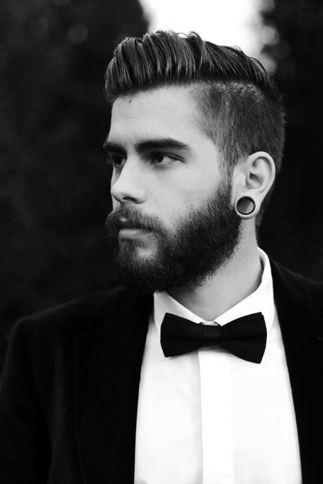 Comb Over Undercut With Beard For Men.