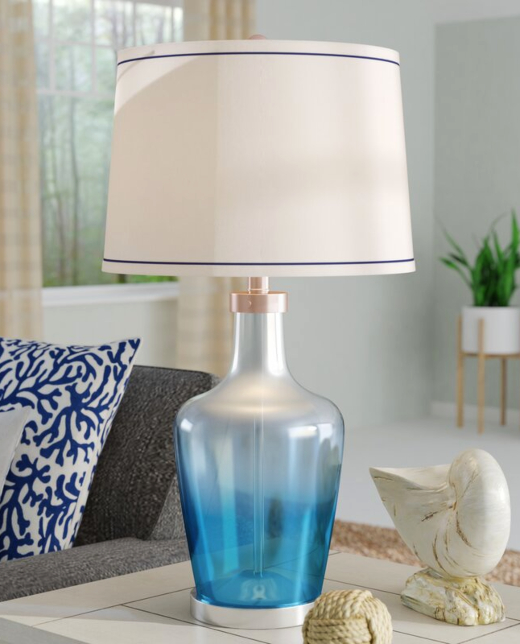 Blue Ombre Glass Table Lamps