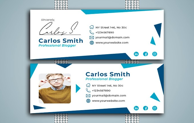 Creative White and Bluish Email Signature Template
