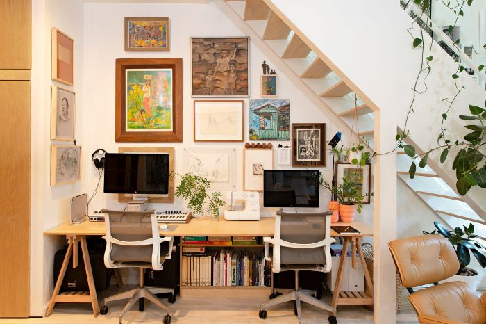 Office space under the stairs is a great example of efficient use of space