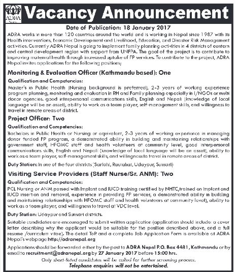 Monitoring & Evaluation Officer, Project Officers, & Visiting Service Providers (Staff Nurse/Sr.ANM) - ADRA Nepal (27th Jan 2017)