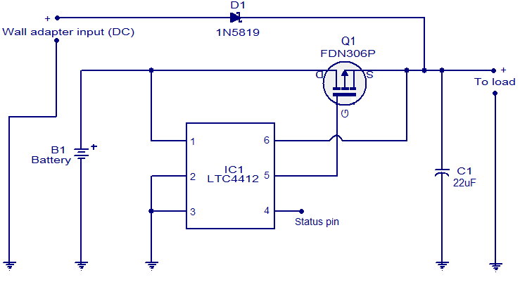 Automatic Changeover Switch Using Ic Ltc4412 Simple