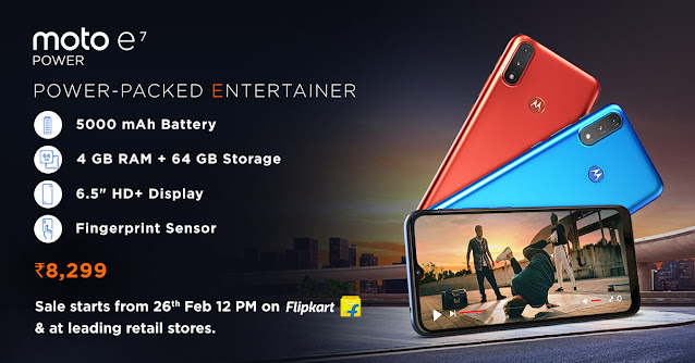 Moto E7 Power Launched: Price starts from Rs. 7,499 - Sales to start from 26th February | TechNeg