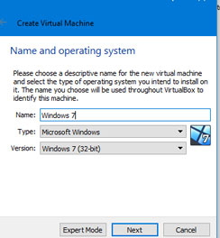 Create Virtual Machine VirtualBox