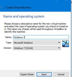 Create Virtual Machine VirtualBox