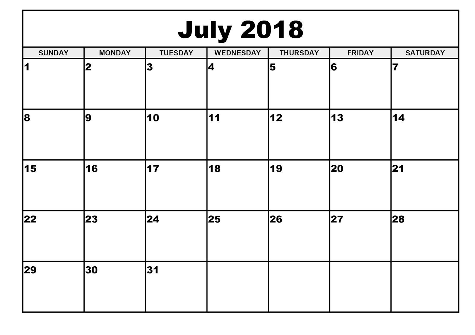 calendar template 2018 printable