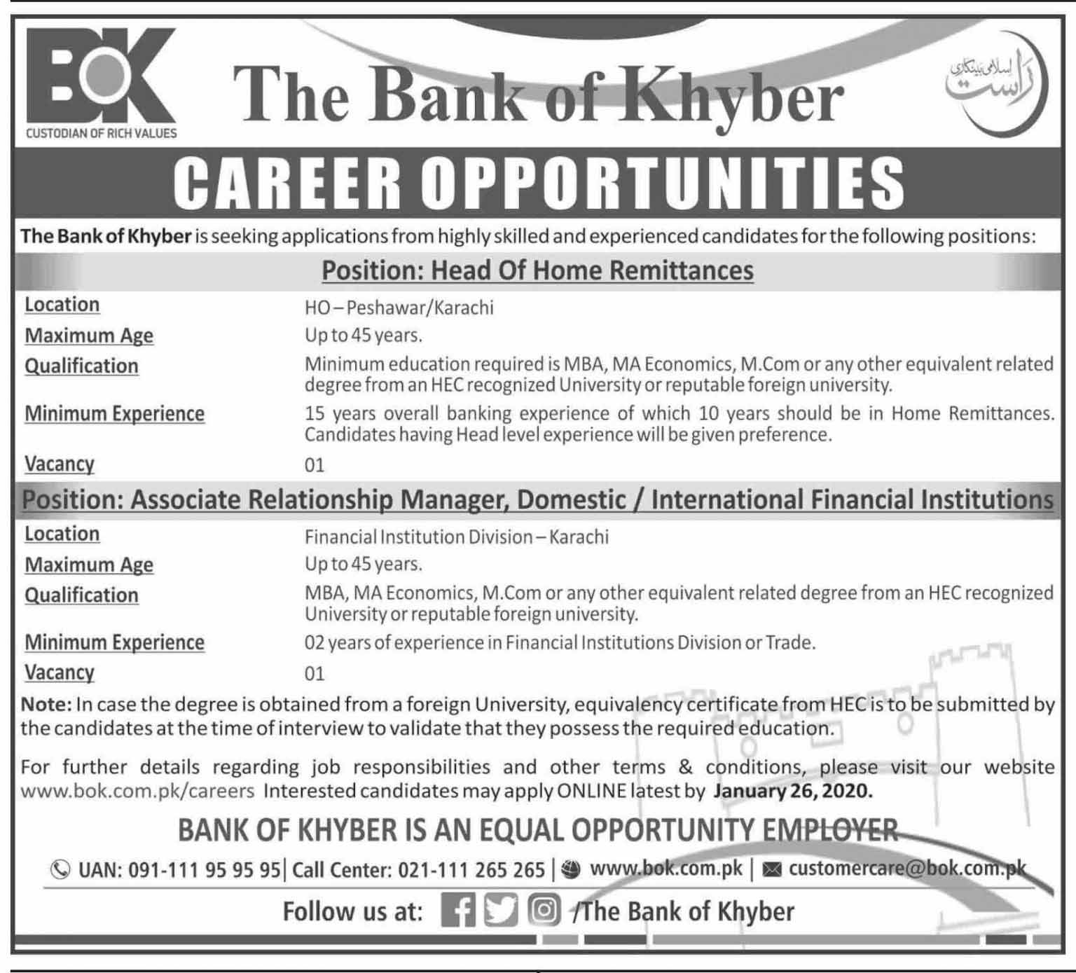 The Bank Of Khyber BOK Latest Jobs