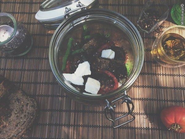 Markal Salad jar de haricots verts parsemés de graines de chia