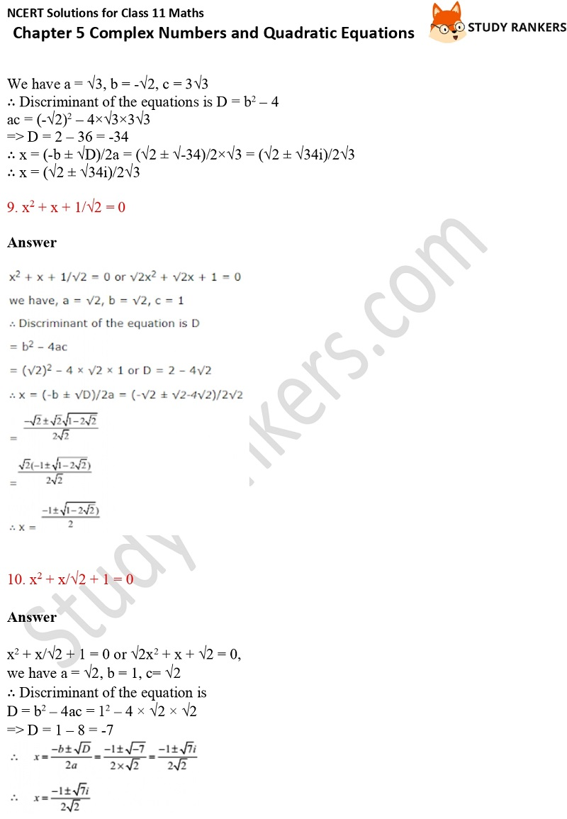 NCERT Solutions for Class 11 Maths Chapter 5 Complex Numbers and Quadratic Equations 9