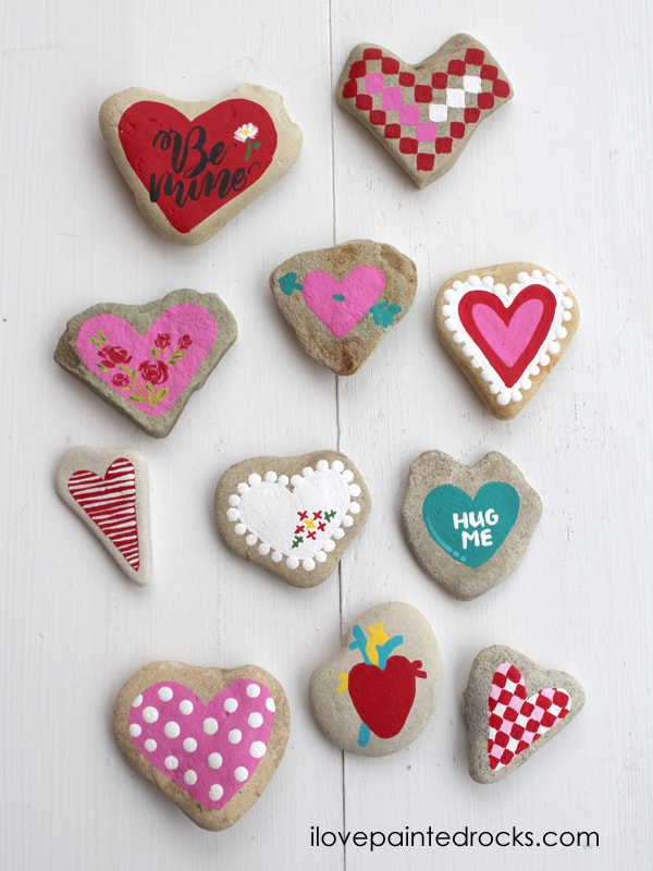 11 cute heart painted rocks are a fun DIY craft the whole family can enjoy for Valentine's Day