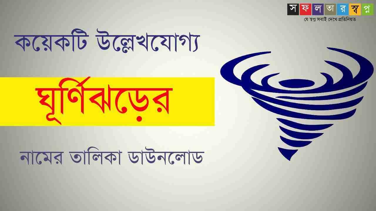 বিভিন্ন ঘূর্ণিঝড় ও নামকরণকারী দেশের নামের তালিকা PDF   List of Cyclone Names in Bengali