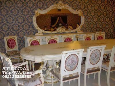 Meja makan Duco Putih-Mebel Duco-Toko mebel jati Klasik-Toko jati-Furniture Klasik Mewah-Jual Meja makan duco putih