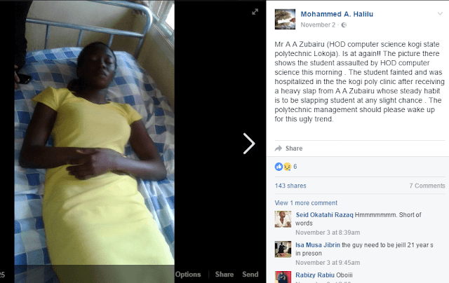 OMG!!! KOGI STATE POLYTECHNIC LECTURER SLAPS STUDENT INTO UNCONSCIOUSNESS – WHAT HAPPENED AFTER WILL SHOCK YOU (PHOTOS)