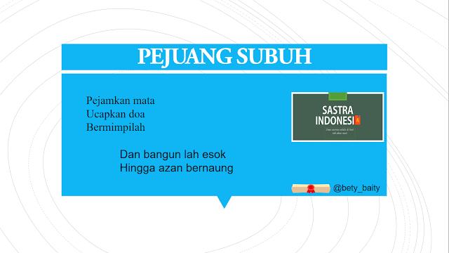 Puisi Agama PEJUANG SUBUH | 34 Sastra Indonesia
