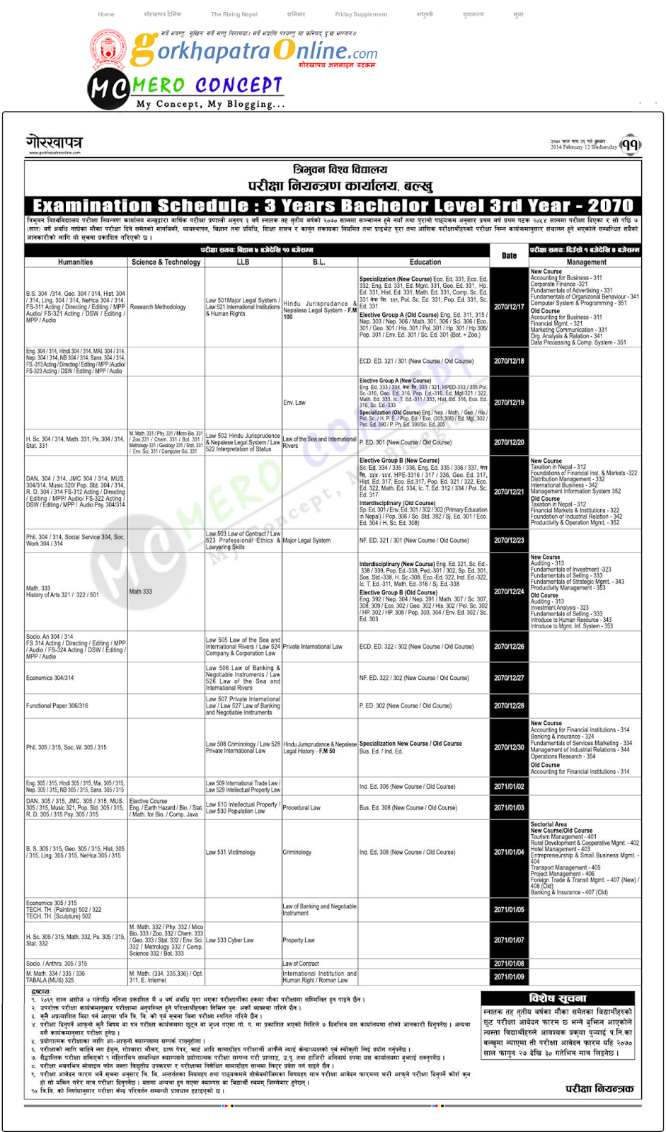 3 Years Bachelor Level 3rd Year (BA. B.Sc, LLB, BL, B.Ed and BBS)-2070 Examination Routine