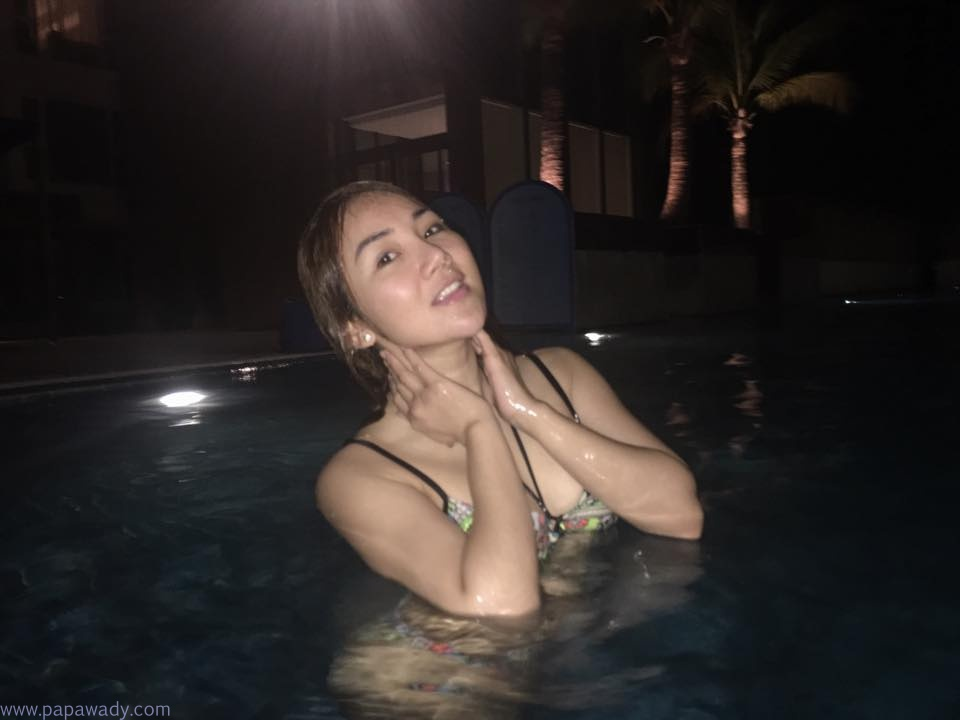 Nang Thiri Maung Shows Off Her Beauty SwimSuit And Swimming At Yangon Novotel Max Hotel