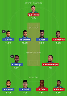 Dream11 team for India vs South Africa 1st T20 Match | Fantasy cricket tips | Playing 11 | India vs South Africa dream11 Team | dream11 prediction |