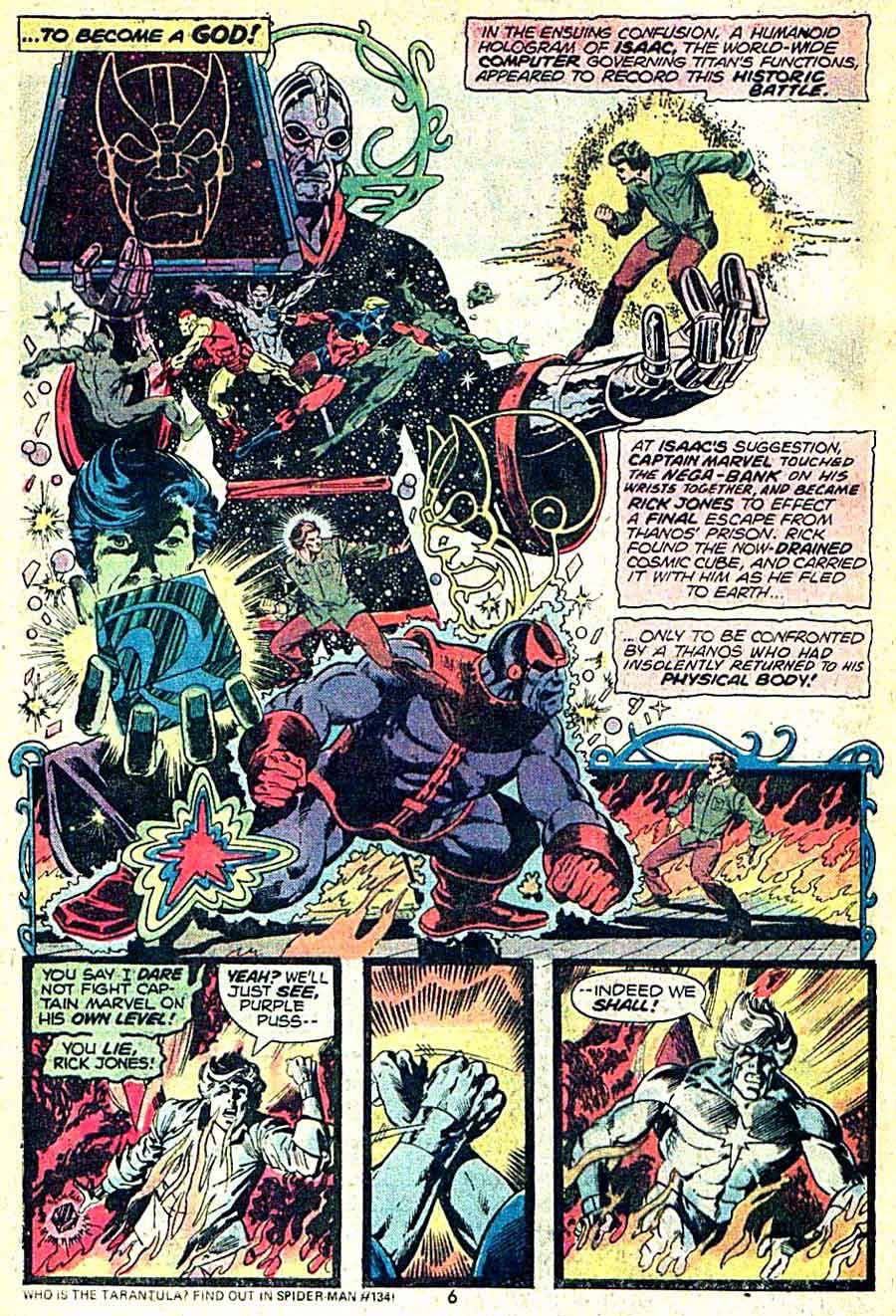 Captain Marvel #33 marvel 1970s bronze age comic book page art by Jim Starlin